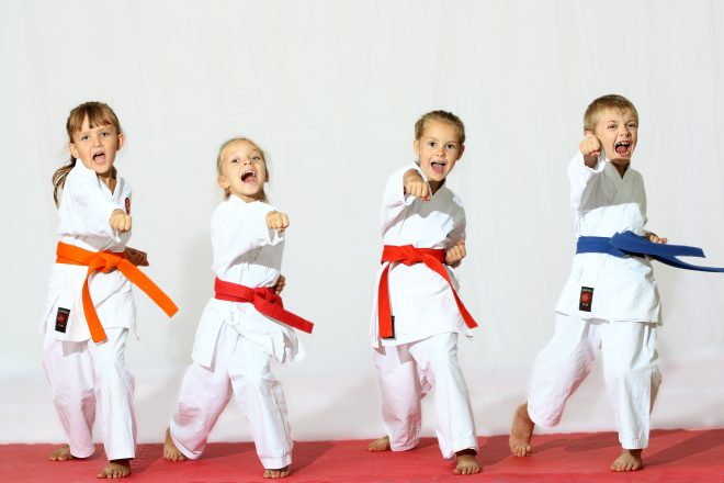 Children in karate uniforms and poses